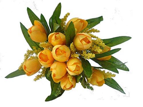 Flor artificial buque de tulipas com 12 flores, folhagens e complementos para arranjos e decoração (Amarela)