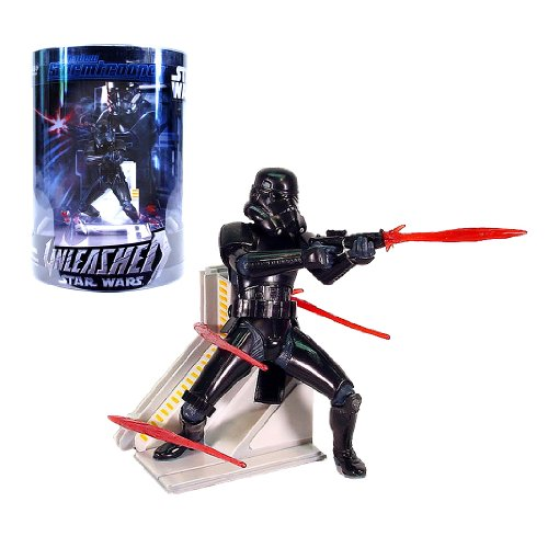 Hasbro Year 2006 Star Wars UNLEASHED Series 6 Inch Tall Action Figure - SHADOW STORMTROOPER with Blaster Pistol, 4 Detachable Firebolts and Display Base