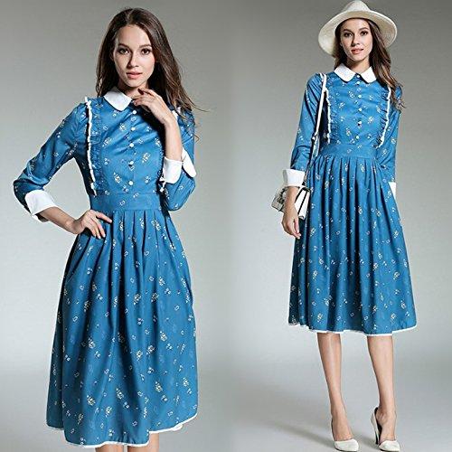 ZHUDJ Señoras _ Estación Otoño Otoño Señoras Pequeña Solapa Para Imprimir Grandes Vestido De Giro Picture color