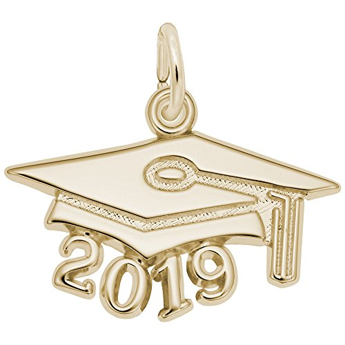 Custom Engraving (up to 10 characters) Rembrandt Charms, 2019 Graduation Cap, Large, 22k Yellow Gold Plated Silver