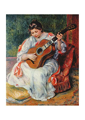 (Spiffing Prints Pierre Auguste Renoir - Woman with Guitar - Large - Archival Matte - Framed)