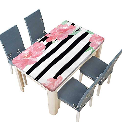 PINAFORE Decorative Tablecloth Save The Date and Wedding Invitation Black Brush Stroke and Watercolor Pink Tender Peony Assorted Size W45 x L84.5 INCH (Elastic Edge) ()