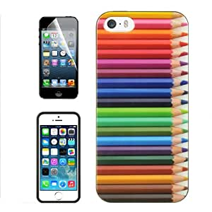 APPLE IPHONE 5 5S ASSORTED COLORED PENCILS TPU RUBBER COVER HARD GEL CASE + FREE SCREEN PROTECTOR from [ACCESSORY ARENA]