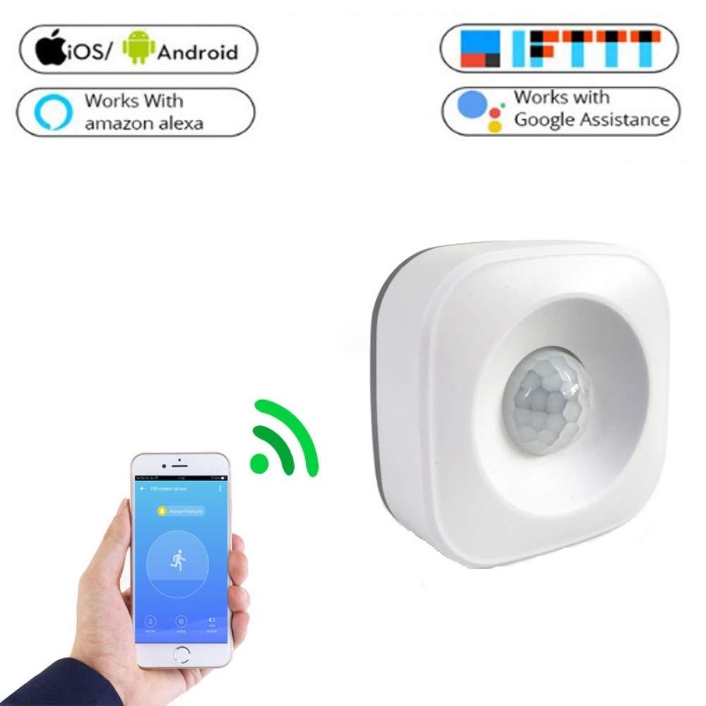 hereubuy Sensore di Movimento PIR - Sensore di Movimento WiFi PIR per Allarme di Sicurezza Domestica Compatibile con Alexa IFTTT e Google Home Assistant