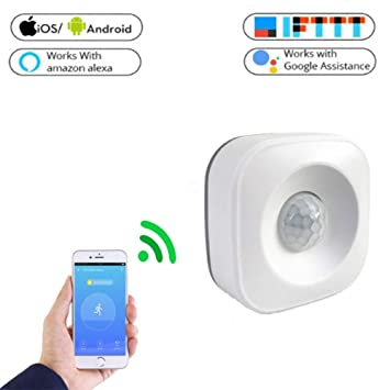 JEOHMMA Detector de Sensor de Movimiento PIR WiFi para Alarma de Seguridad para el hogar Compatible con Smart Life Google Home y Alexa IFTTT
