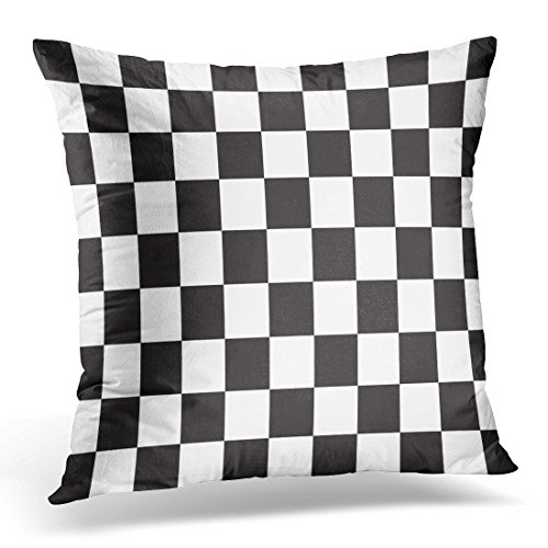 Battle Flag Square (Golee Throw Pillow Cover Flag Black and White Racing and Checkered Pattern Abstract Battle Decorative Pillow Case Home Decor Square 20x20 Inches Pillowcase)