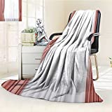 Luxury Double-Sides Reversible Fleece Blanket Room Window with White and Grey Curtains Close up Couch Blanket,Travelling and Camping Blanket(60''x 50'')