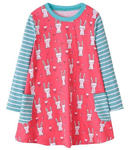 Fiream Girls Cotton Casual Longsleeve Cartoon Stripe Dresses(S0082,7-8 Years)