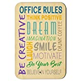 Office Rules Inspirational Motivational Words 9'' x 6'' Wood Sign