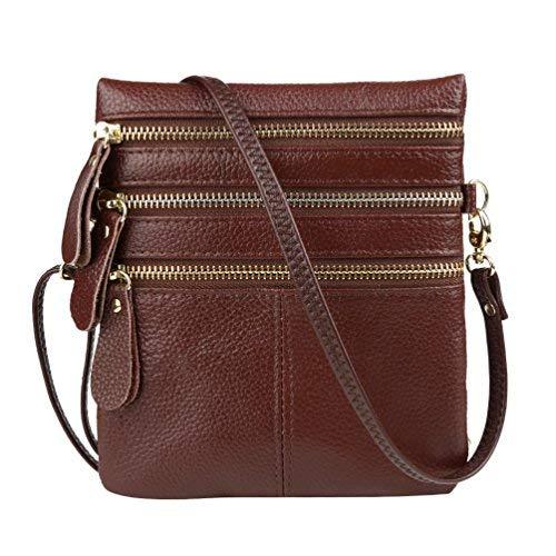 Vbiger Women Genuine Leather Shoulder Bag Stylish Messenger Bag Casual Change Purse Chic Handbag Trendy Coin Purse with Detachable Shoulder Strap