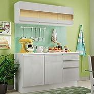 Cozinha Compacta 100% Mdf Madesa Smart 120 cm Modulada Com Balcão e Tampo - Frentes Branco Brilho