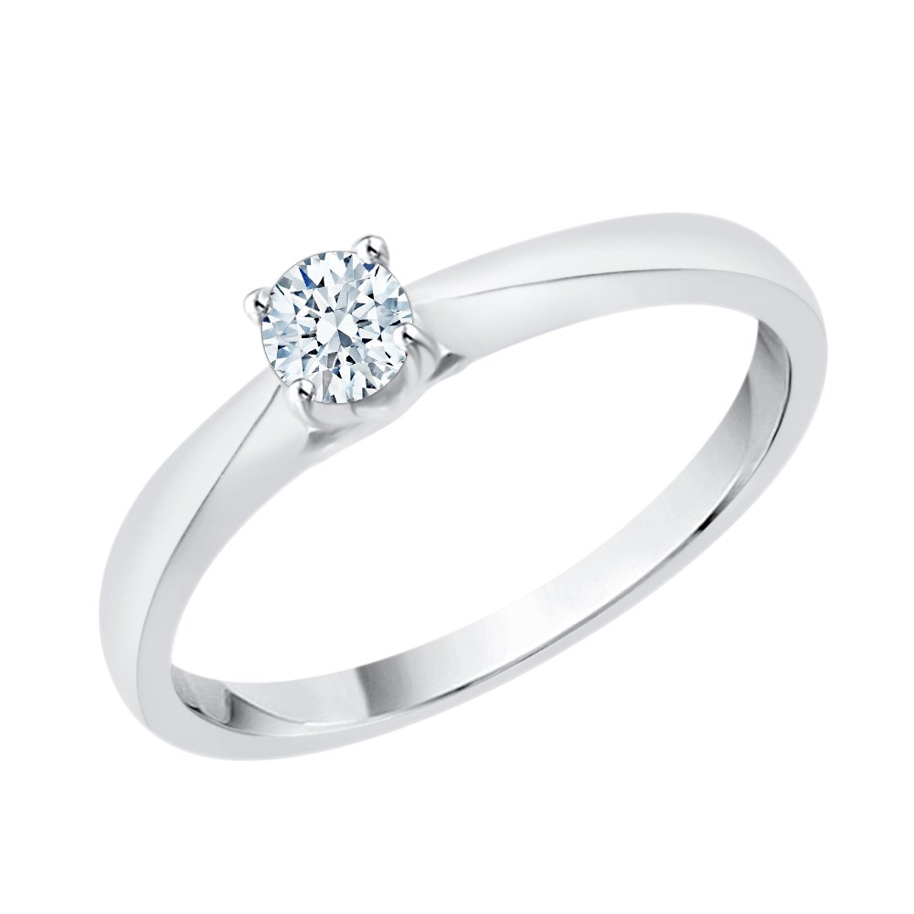 Diamond Solitaire Promise Ring in Sterling Silver (1/6 cttw) (I-Color, SI3/I1-Clarity) (Size-8.25)