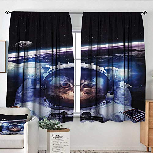 - Cat Patterned Drape for Glass Door Funny Astronaut Cat Above Earth in Outer Space Explorer Kitty Mission Humor Art Image Bedroom Blackout Curtains 72