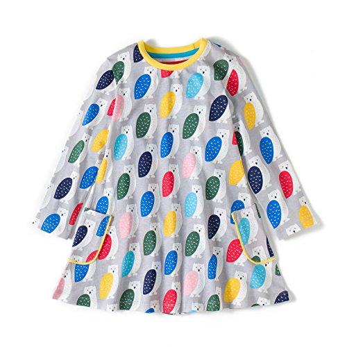 Girls Cotton Long Sleeve Dresses Dress Cute Cartoon Dresses(Owl & Gray,4-5Yrs) ()