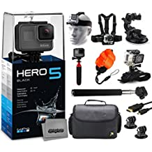 GoPro HERO5 Black CHDHX-501 with Headstrap + Chest Harness + Suction Cup + Handgrip + Floaty Strap + Wrist Hand Glove + Selfie Stick + Large Padded Case + HDMI Cable + Tripod adapter