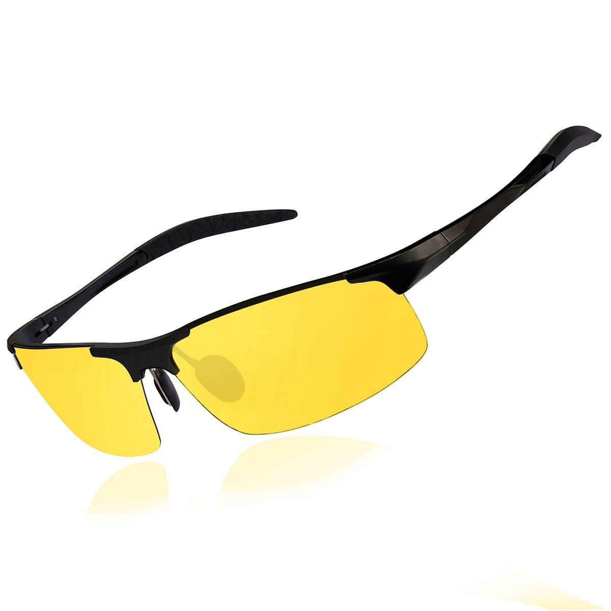 a2b15fdf222 wearPro Men`s Sports Polarized Driving Sunglasses for Men Al-Mg Metal Frame  Ultra Light Sun Glasses WP1005 (yellow black