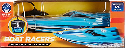 Blue Hat Boat Racers Battery Operated RC Speedboat (49 MHz), Dual - Racer Speed Rc