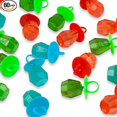 Jewel Pop Ring Shaped Candy Variety Bulk Pack -Individually Wrapped - 60 Count ( 20 Per Bag, Pack of 3) -