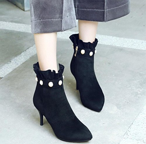 KUKI autumn ladies boots high-heeled shoes with shoes scrub bare boots Martin boots large size women boots Black dqwpsLf