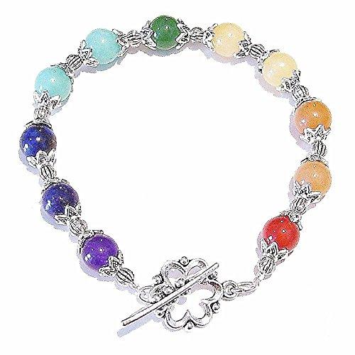 Semi-precious Gemstone Rainbow Chakra Meditation Bracelet 8.25 21cm