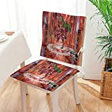 Mikihome Chair Pads 2 Piece Set Indian Elephant God Dancing Rocking The Dance Floor with its Meditating Moves Print Garden Home Kitchen Mat:W17 x H17/Backrest:W17 x H36