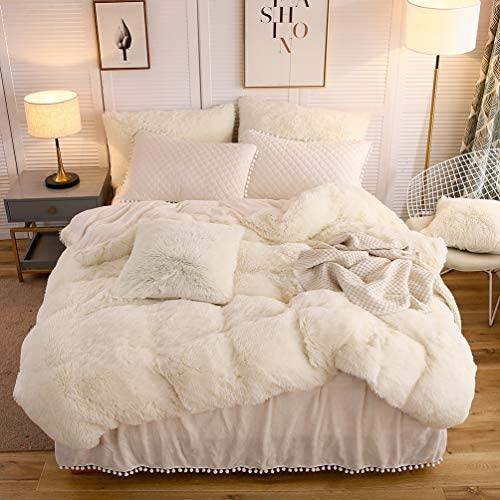 LIFEREVO Luxury Plush Shaggy Duvet Cover Set (1 Faux Fur Duvet Cover and a pair of Pompoms Fringe Pillow Shams) Solid, Zipper Closure (King Light Beige)