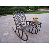 Cheap Oakland Living Mississippi Cast Aluminum 2-Piece Rocking Set in Antique Bronze with 18-Inch Side Table