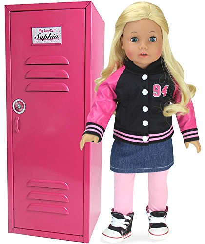 Kids Locker Room Furniture (Larger than Most, 18 Inch Doll Clothes Locker for American Girl Doll Rooms & More! 18 Inch Doll Furniture of Pink Metal Doll Locker by Sophia's | Hot Pink Doll School Locker Measures 6 x 7 x 18 inches)