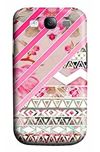 CaseandHome Girly Pink Stripes Floral Abstract Aztec Pattern Design PC Material Hard Case for Samsung Galaxy I9300 S3