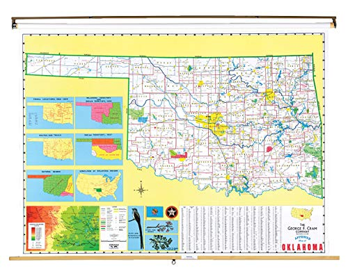 Nystrom Oklahoma Pull Down Roller Classroom Map