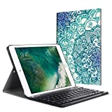 Fintie iPad 9.7 2018 2017 / iPad Air 2 / iPad Air Keyboard Case - Slim Shell Stand Cover w/Magnetically Detachable Wireless Bluetooth Keyboard for iPad 6th / 5th Gen, iPad Air 1/2, Emerald Illusions