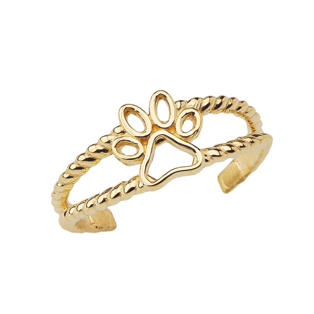 Fine 10k Yellow Gold Dog Paw Print Double Rope Toe Ring