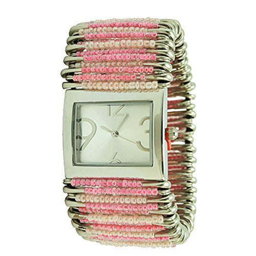 (Women's Pastel Pink Safety Pin Watch Rectangular Silver Case)