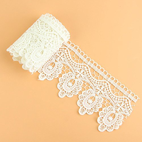 Great Deal! Yontree Floral Venise Lace Applique Sewing Trim Bridal Wedding Applique White 2 yards