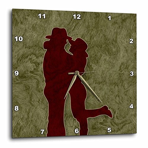 """3dRose Western Themed Cowgirl and Cowboy Embraced in Love Wall Clock, 10 x 10"""""""