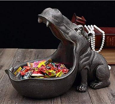 Big Mouth Hippo Storage Figurine Key Bowl Resin Hippo Candy Dish Home Decor