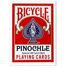 1 Deck Bicycle Pinochle Playing Cards with Free Cut Card - Choose Deck Color