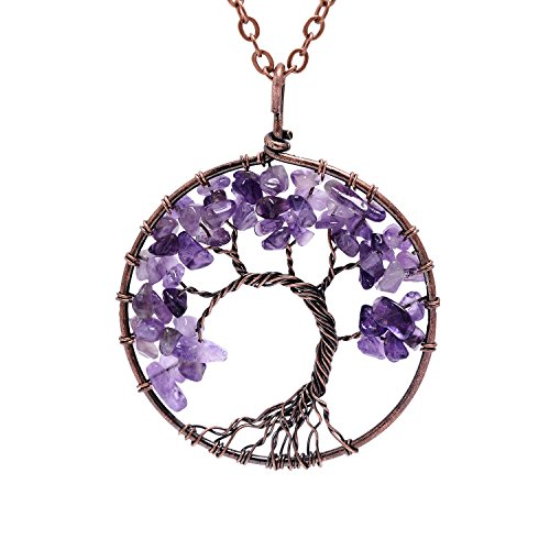 Tumbled Raw Natural Stone Root Family Copper Tree of Life Amethyst Amthyest Pendant Necklace Healing Vintage Wisdom Purple Birthstone February Gemstone Wire Wrapped Necklace Gifts for Women -