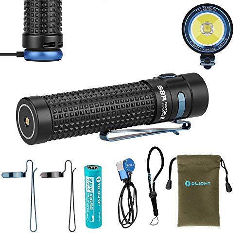 Olight S2R II Baton 1150 Lumen Rechargeable LED Flashlight Side-switch EDC with one customized 3200mAh 18650 Battery, USB Magnetic Charging Cable (MCC II) and LegionArms Sticker ()