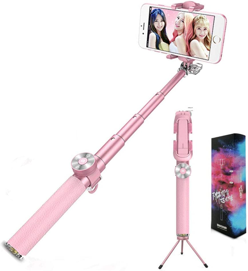 CHUANG TIAN Professional Selfie Stick,with Removable Wireless Bluetooth Remote Android,Red Compatible with iPhone