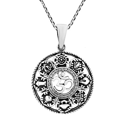 AeraVida Mystic Om or Aum with The Eight Auspicious .925 Sterling Silver Pendant Necklace