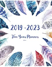 2019-2023 Feathers Five Year Planner: 60 Months Planner and Calendar,Monthly Calendar Planner, Agenda Planner and Schedule Organizer, Journal Planner and Logbook, Appointment Notebook, Academic Student Planner for the next five years (5 year calendar/5 year diary/8 x 10)