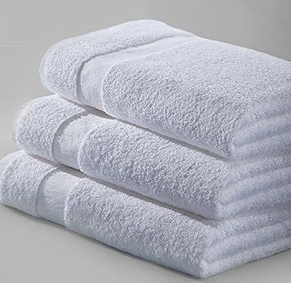 12 unidades nuevo toallas de baño 24 x 50 Blanco 10.5lb 100% algodón rápido