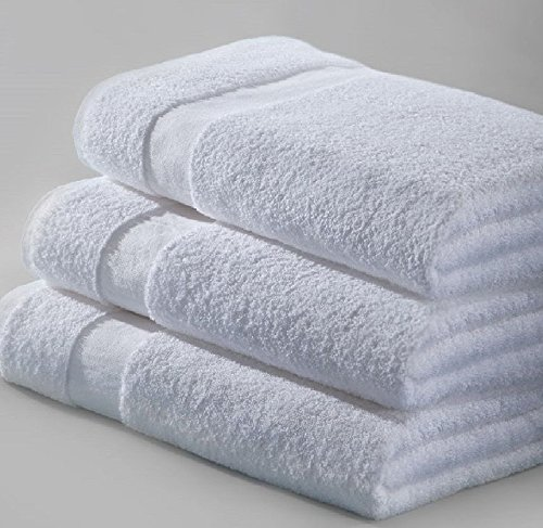 12 PACK NEW BATH TOWELS 24X50 WHITE 10.5LB 100% COTTON FAST SHIPPING By Omni Linens by Omni Linens