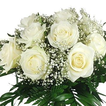 Xl Blumenstrauss Weisse Rosen Aufgebunden Mit Schleierkaut Und