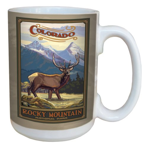 TreeFree Greetings 79356 Colorado Rocky Mountain Elk by Paul A. Lanquist Ceramic Mug with Full-Sized Handle, 15-Ounce, Multicolored ()