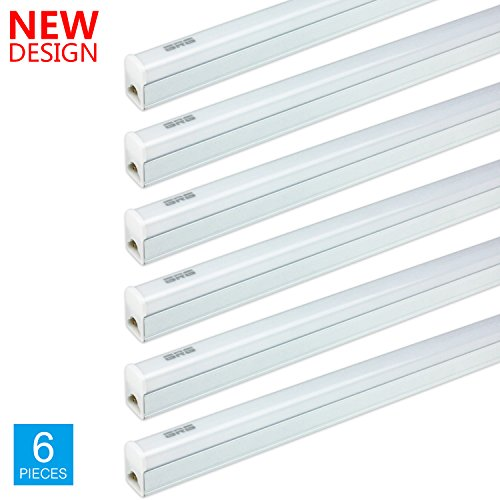 (Pack of 6) GRG LED T5 Integrated Single Fixture, 2Ft 10W 1100lm 6500K, Linkable Utility Shop Light, Garage Light, LED Ceiling & Under Cabinet Light, T5 T8 Fluorescent Tube Light Fixture Replacement (Slim Cabinet Fluorescent Under T5)