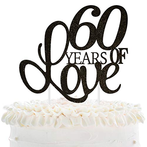 60 Years of Love Cake Topper 60th Happy Birthday Sixtieth Wedding Anniversary Love Gifts Keepsake Party Decoration Supplies - 5.9'' x 8.3''(Black - Kit Anniversary Cake