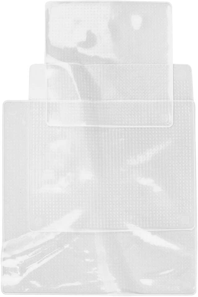 Rubber COOK CONCEPT KB6057 Set of 3 Square Silicone Stretch Lids Transparent