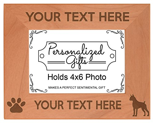 Personalized Dog Picture Frame Boxer Your Text Personalized Dog Frame Natural Wood Engraved 4x6 Landscape Picture Frame Wood ()